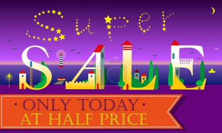 Super Sale Insсription. Cute houses Font