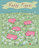 Happy Piggies on the blossoming field