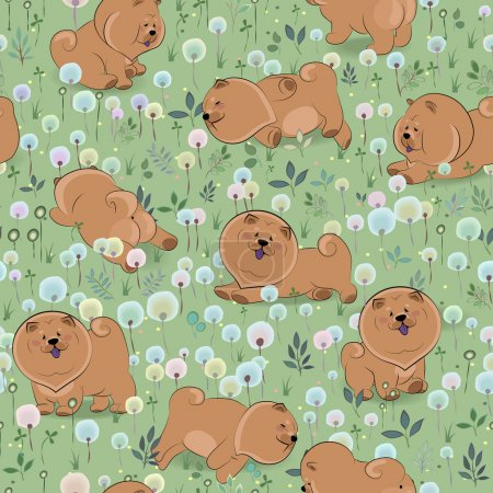 Happy dogs on the blossoming field