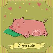 Cute Sleeping Pig