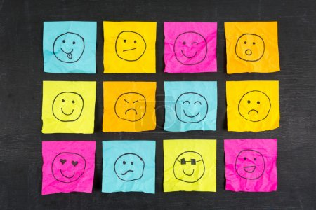 Crumpled Sticky Note Emoticons