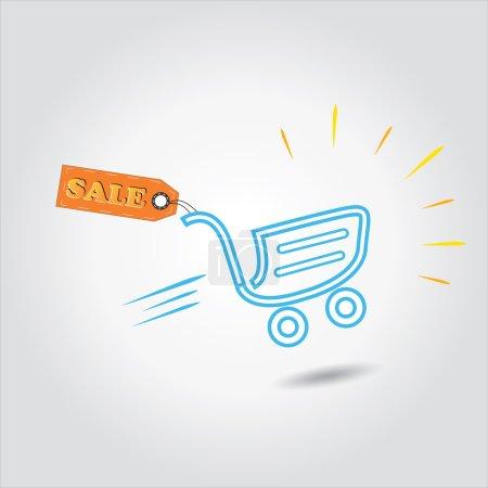 Illustration pour Étiquette de vente avec panier est concept de réduction vectorielle, vente ou pour le shopping, vendredi noir - image libre de droit