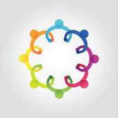 Vector of colorful school peoplekids holding handsbusiness meetingdiscusscommunity