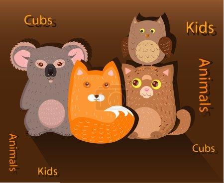 Illustration pour Louveteaux chanterelle, chaton, chouette et un koala dans le groupe - image libre de droit