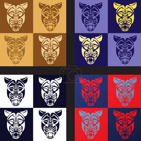 multi-colored muzzles of a cheetah of a tattoo seamless