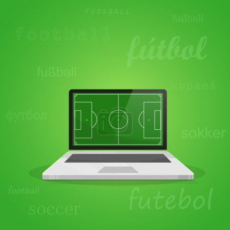 Laptop with soccer field