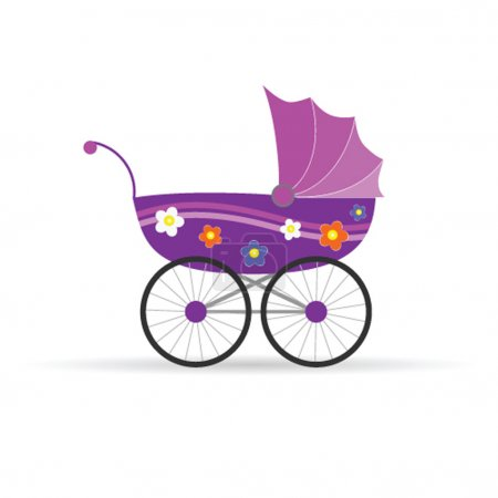 transport de bébé en rose pour l'illustration vectorielle fille