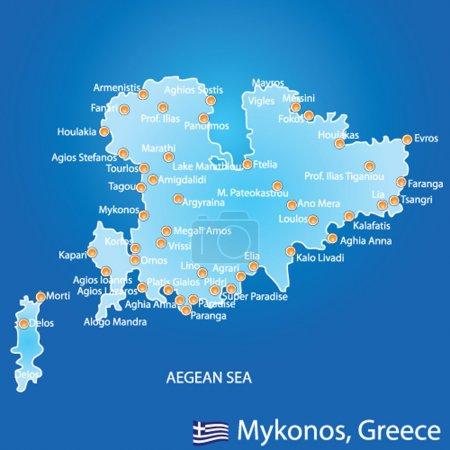 Island of Mykonos in Greece map