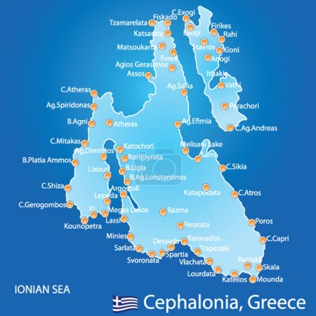 Island of Cephalonia in Greece map