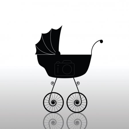 baby stroller old black vector