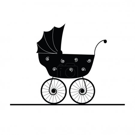 Baby stroller cartoon vector