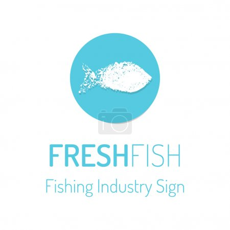 Illustration for Fresh fish vector logo. Hand drawn round badge with grungy sea fish - Royalty Free Image