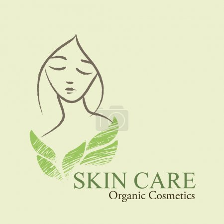 Organic Cosmetics Design elements with contoured woman's face an