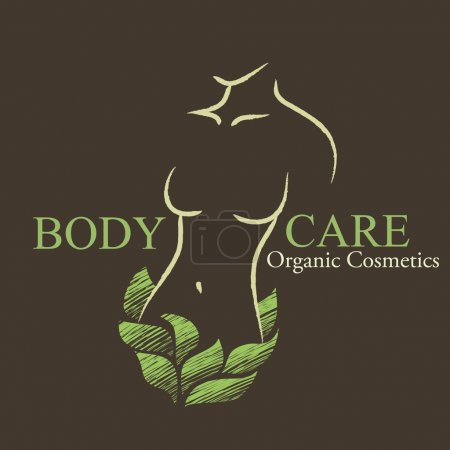 Organic Cosmetics Design elements with contoured woman's shape a