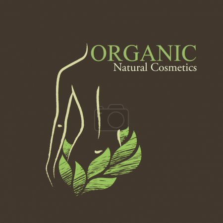 Illustration for Natural (organic) cosmetics emblems. Handdrawn ecodesign with contoured woman's shape and green leaves - Royalty Free Image