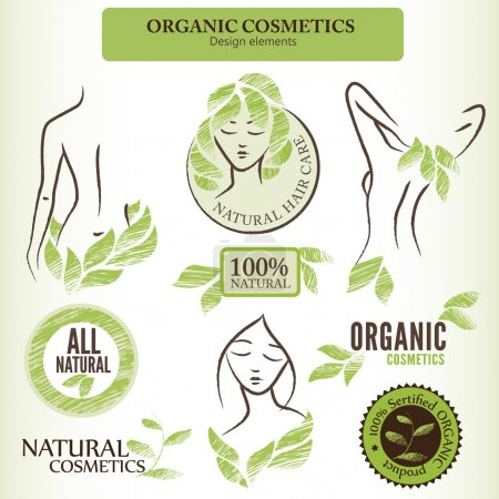 Photo for Set of natural (organic) cosmetics labels, badges and stickers. Handdrawn design elements with contoured shapes and green leaves - Royalty Free Image