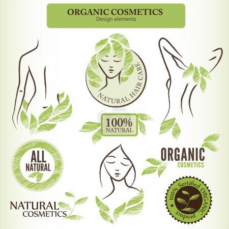 Foto de Set de cosmética natural (orgánico) etiquetas, insignias y pegatinas. Handdrawn elementos de diseño con formas contorneadas y hojas verdes - Imagen libre de derechos