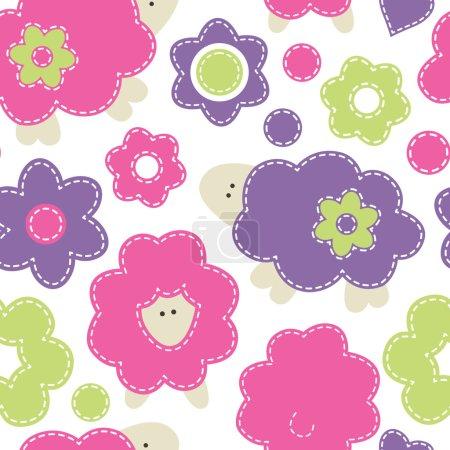 Cute cartoon seamless pattern with baby sheep. Childish style ve