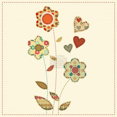 Cartoon vector illustration in a patchwork style - flowers decor