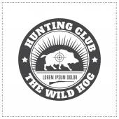 Vector hunting club emblem with a wild hog