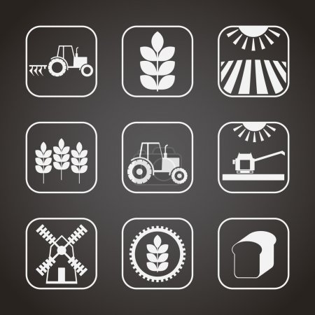Set of monochrome agricultural icons