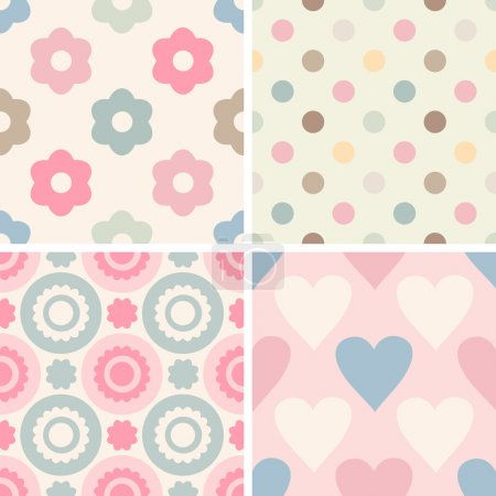 Illustration for Set of simple romantic patterns dots, geometric, flowers, hearts. Light pastel colors. Endless texture can be used for childrens wear, wallpaper, web background, wrapping, packaging etc. - Royalty Free Image