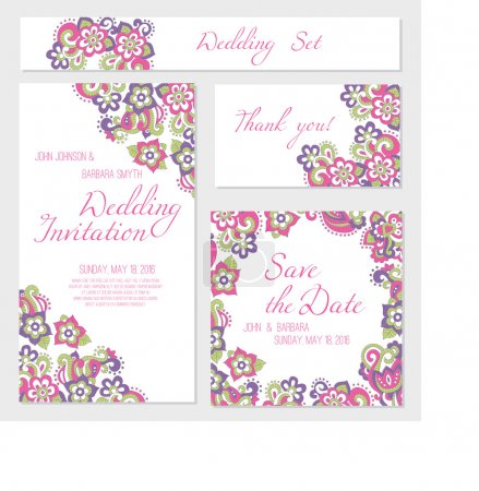 Set of wedding, invitation or anniversary cards with colorful floral background