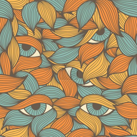 Abstract seamless pattern with orange and blue lea...