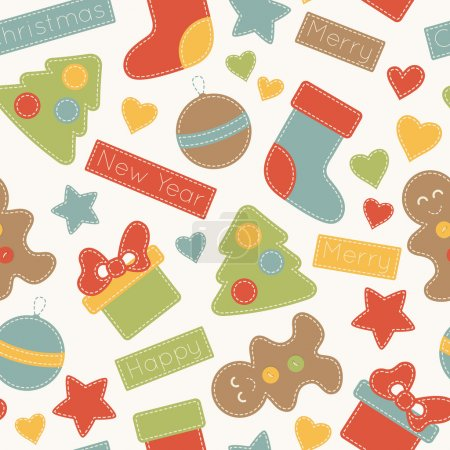 Childish Christmas seamless pattern with Christmas trees, present boxes, , balloons and umbre