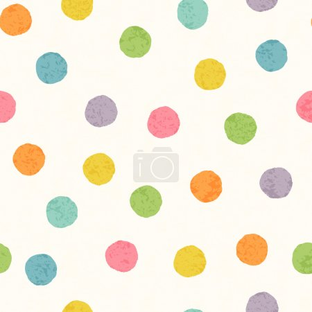 Illustration for Abstract seamless pattern with bright colorful hand drawn dots on a white background. Lovely childish backdrop for wrapping, packaging, textile and interior decoration - Royalty Free Image