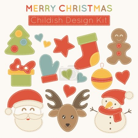 Set of Christmas design elements for babies.
