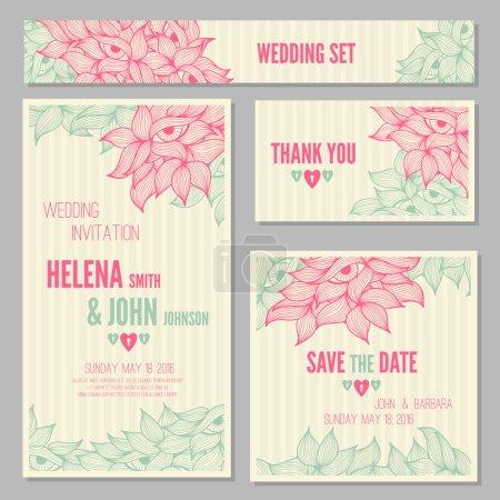 Set of wedding, invitation or anniversary cards