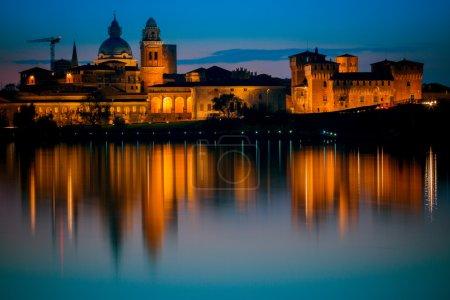 View of italian city of Mantua by night, taken fro...