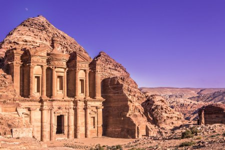 Photo for The Main Attraction of One of the Seven Wonders of the World - Red city of Petra in Jordan. - Royalty Free Image