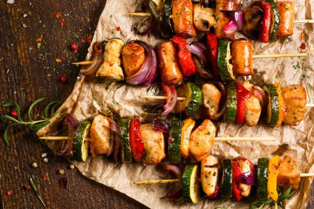 Skewers of grilled meat and vegetables