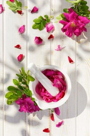 Rose petals in a mortar