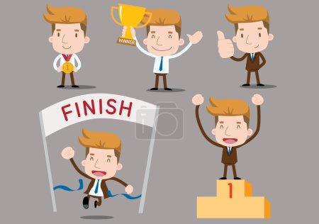 Illustration pour Série Homme d'affaires - set gagnant - image libre de droit