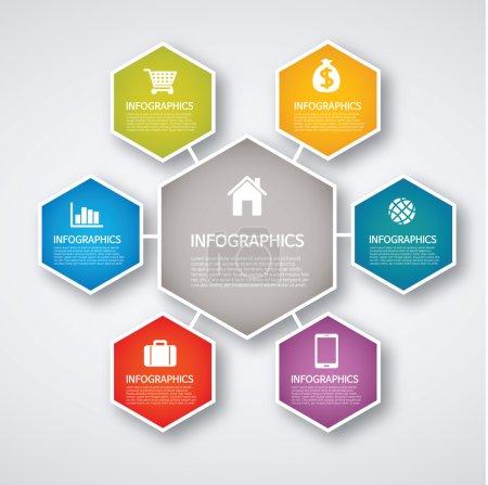 Info graphics - colorful graph, hexagon