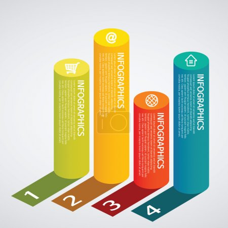 Info graphics - colorful graph,cylinder, shadow