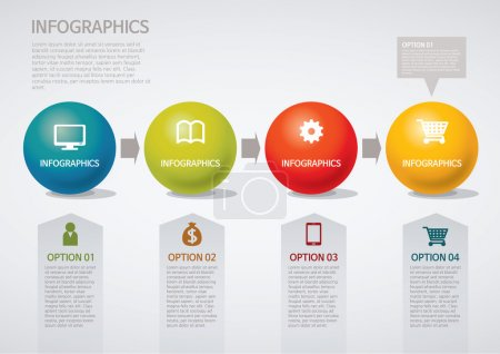 Illustration for Info graphics - step, circle, arrow - Royalty Free Image