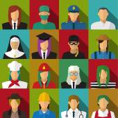 Set of 16 woman job icons in flat with long shadow