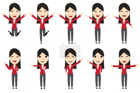 Illustration pour Ensemble de personnages de femme d'affaires en mouvement, vecteur - image libre de droit