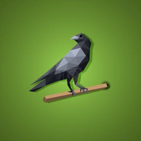 Black Raven bird vector in low polygon art