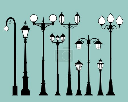 Set of street lamps in flat style