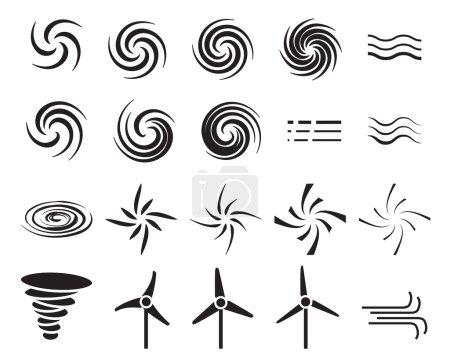 Illustration pour Ensemble d'icônes du vent dans de nombreux styles, vecteur - image libre de droit