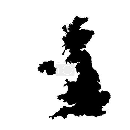 Photo pour Silhouette d'illustration noir raster de la carte du Royaume-Uni. Carte de l'Angleterre. United Kingdom of Great Britain. Comtés de carte Royaume-Uni - image libre de droit