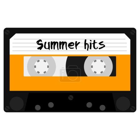 Photo pour Cassette avec des tubes d'été pour l'illustration de raster de fête d'été. Discothèque d'été. Cassette audio rétro - image libre de droit