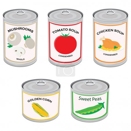 Illustration for Vector illustration canned food set, collection. Tomato soup, chicken soup, sweet peas, golden corn and mushrooms.  Metal tin can - Royalty Free Image