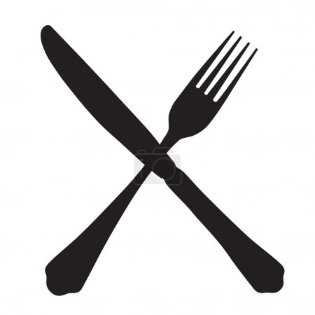 Black silhouette of crossed fork and knife icon ve...