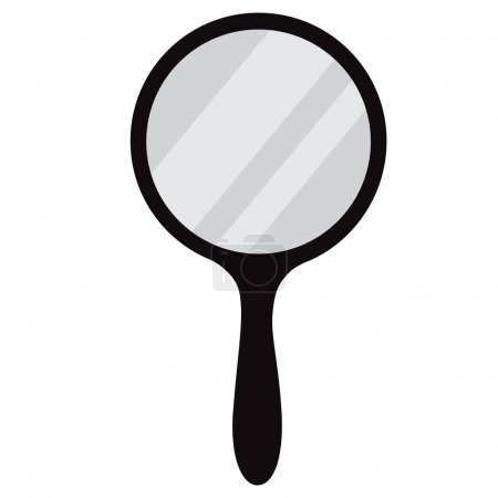 Illustration for Round, black hand mirror vector isolated. Hand mirror icon - Royalty Free Image